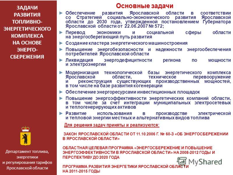 ЗАДАЧИ РАЗВИТИЯ ТОПЛИВНО- ЭНЕРГЕТИЧЕСКОГО КОМПЛЕКСА НА ОСНОВЕ ЭНЕРГО- СБЕРЕЖЕНИЯ Основные задачи Обеспечение развития Ярославской области в соответствии со Стратегией социально-экономического развития Ярославской области до 2030 года, утвержденной по