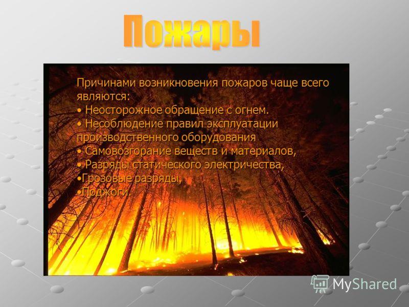 Причинами возникновения пожаров чаще всего являются: Неосторожное обращение с огнем. Неосторожное обращение с огнем. Несоблюдение правил эксплуатации производственного оборудования Несоблюдение правил эксплуатации производственного оборудования Самов