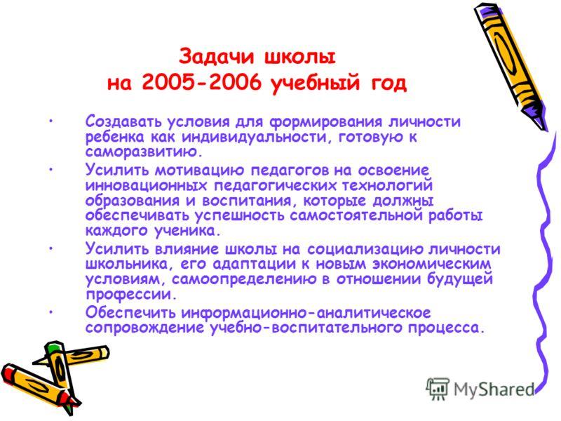Задачи школы на 2005-2006 учебный год Создавать условия для формирования личности ребенка как индивидуальности, готовую к саморазвитию. Усилить мотивацию педагогов на освоение инновационных педагогических технологий образования и воспитания, которые