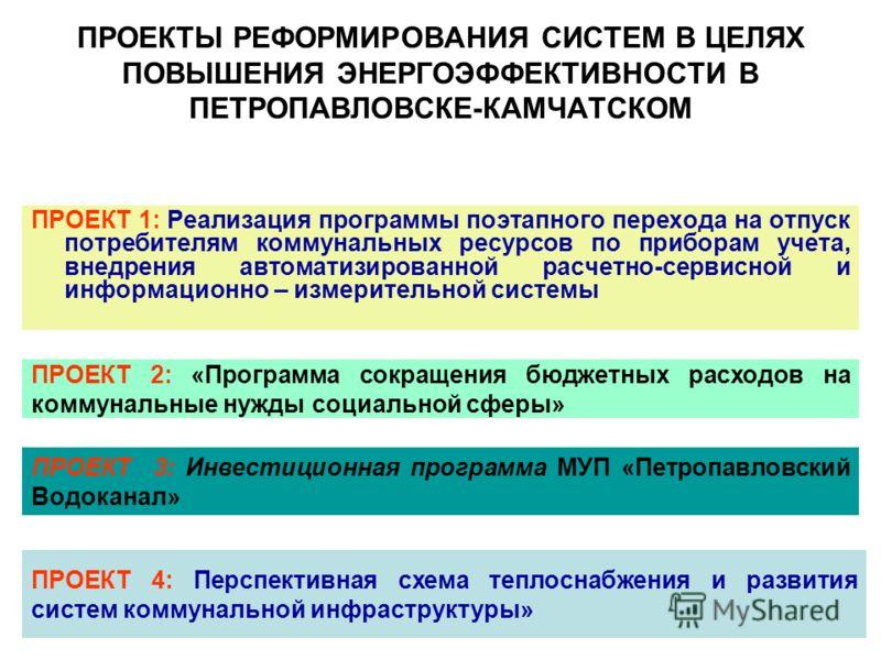 ПРОЕКТЫ РЕФОРМИРОВАНИЯ СИСТЕМ В ЦЕЛЯХ ПОВЫШЕНИЯ ЭНЕРГОЭФФЕКТИВНОСТИ В ПЕТРОПАВЛОВСКЕ-КАМЧАТСКОМ ПРОЕКТ 1: Реализация программы поэтапного перехода на отпуск потребителям коммунальных ресурсов по приборам учета, внедрения автоматизированной расчетно-с