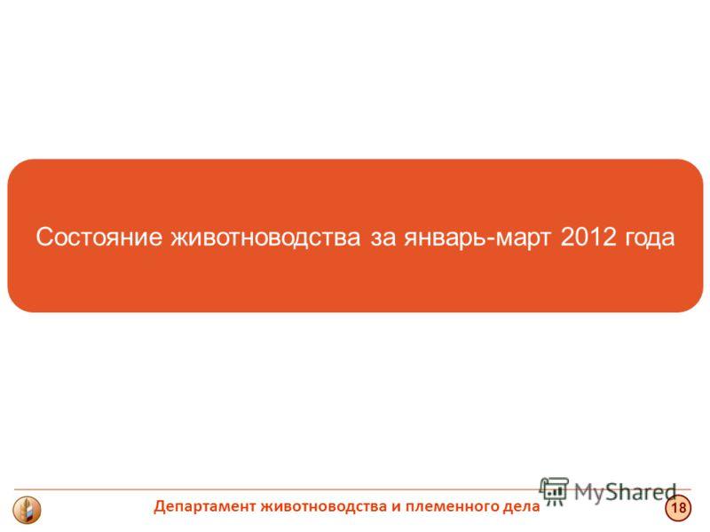 Состояние животноводства за январь-март 2012 года 18 Департамент животноводства и племенного дела