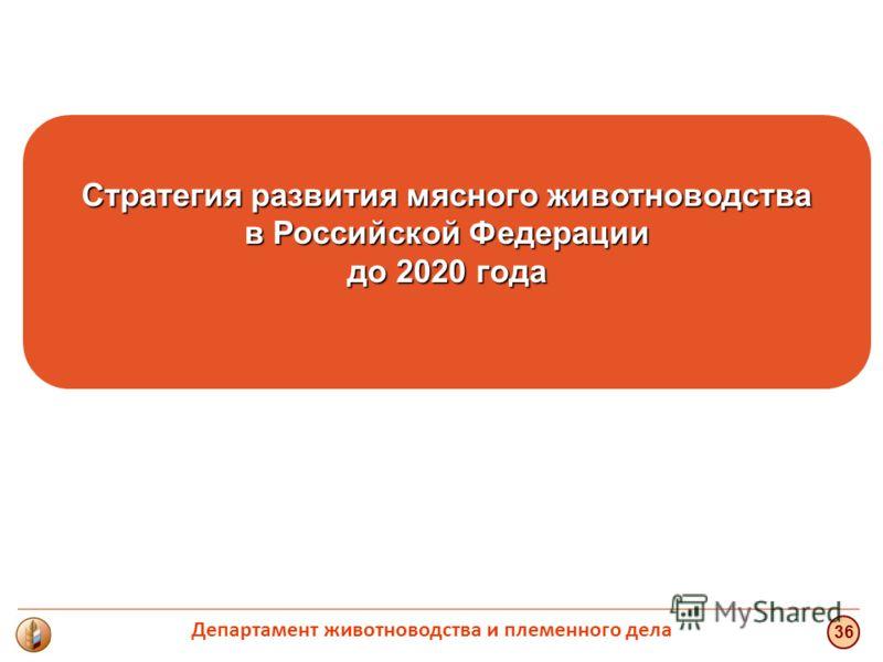 Стратегия развития мясного животноводства в Российской Федерации до 2020 года 36 Департамент животноводства и племенного дела
