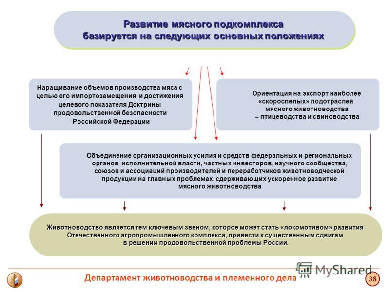 Животноводство является тем ключевым звеном, которое может стать «локомотивом» развития Отечественного агропромышленного комплекса, привести к существенным сдвигам в решении продовольственной проблемы России. Развитие мясного подкомплекса базируется