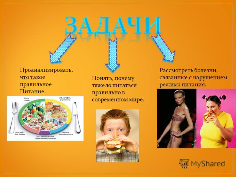 Проанализировать, что такое правильное Питание. Понять, почему тяжело питаться правильно в современном мире. Рассмотреть болезни, связанные с нарушением режима питания.