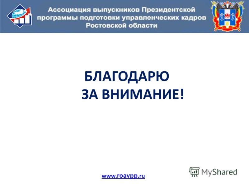 БЛАГОДАРЮ ЗА ВНИМАНИЕ! www. roavpp.ru