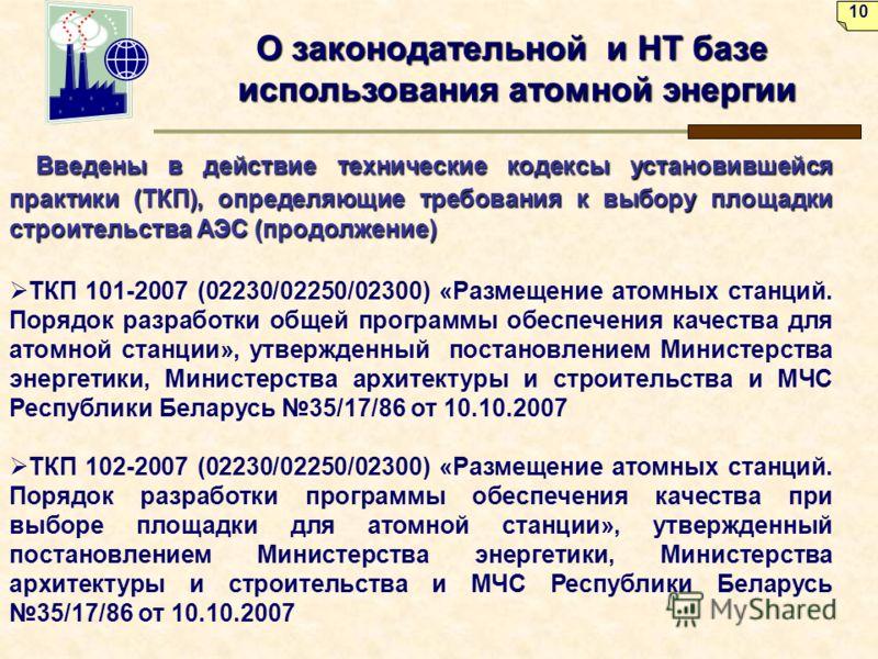 О законодательной и НТ базе использования атомной энергии Введены в действие технические кодексы установившейся практики (ТКП), определяющие требования к выбору площадки строительства АЭС (продолжение) Введены в действие технические кодексы установив