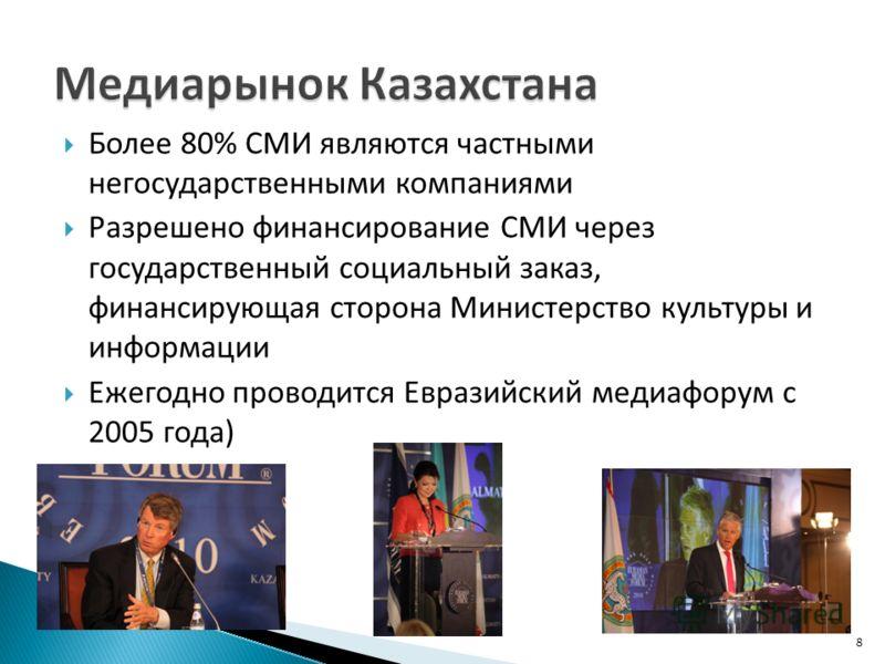 Более 80% СМИ являются частными негосударственными компаниями Разрешено финансирование СМИ через государственный социальный заказ, финансирующая сторона Министерство культуры и информации Ежегодно проводится Евразийский медиафорум с 2005 года) 8