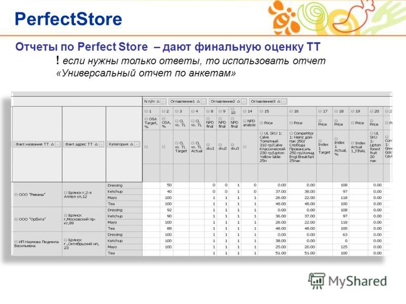 PerfectStore Отчеты по Perfect Store – дают финальную оценку ТТ ! если нужны только ответы, то использовать отчет «Универсальный отчет по анкетам»