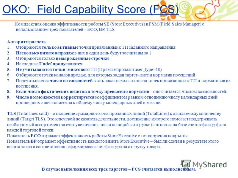 Комплексная оценка эффективности работы SE (Store Executives) и FSM (Field Sales Manager) с использованием трех показателей – ECO, BP, TLS Алгоритм расчета 1.Отбираются только активные точки привязанные к ТП заданного направления 2.Несколько визитов/
