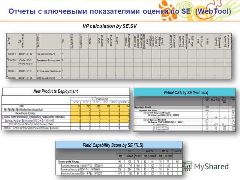 Отчеты с ключевыми показателями оценки по SE (WebTool) VP calculation by SE,SV