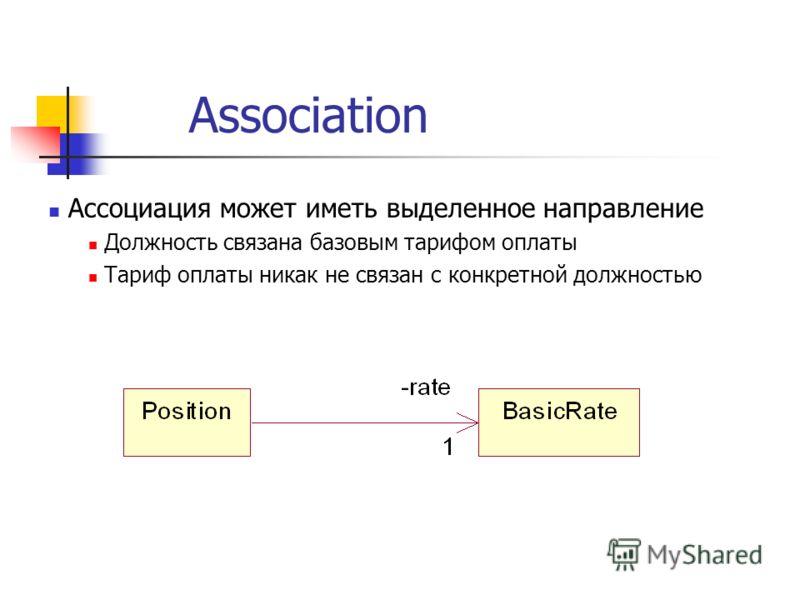 Association Ассоциация может иметь выделенное направление Должность связана базовым тарифом оплаты Тариф оплаты никак не связан с конкретной должностью