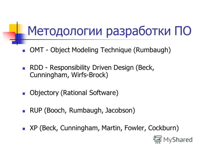 Методологии разработки ПО OMT - Object Modeling Technique (Rumbaugh) RDD - Responsibility Driven Design (Beck, Cunningham, Wirfs-Brock) Objectory (Rational Software) RUP (Booch, Rumbaugh, Jacobson) XP (Beck, Cunningham, Martin, Fowler, Cockburn)
