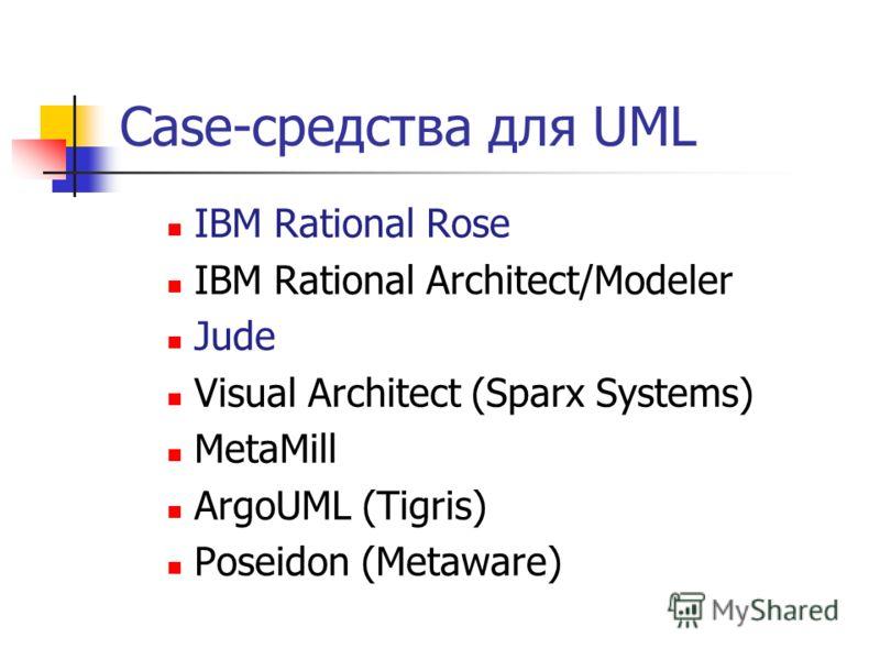 Case-средства для UML IBM Rational Rose IBM Rational Architect/Modeler Jude Visual Architect (Sparx Systems) MetaMill ArgoUML (Tigris) Poseidon (Metaware)