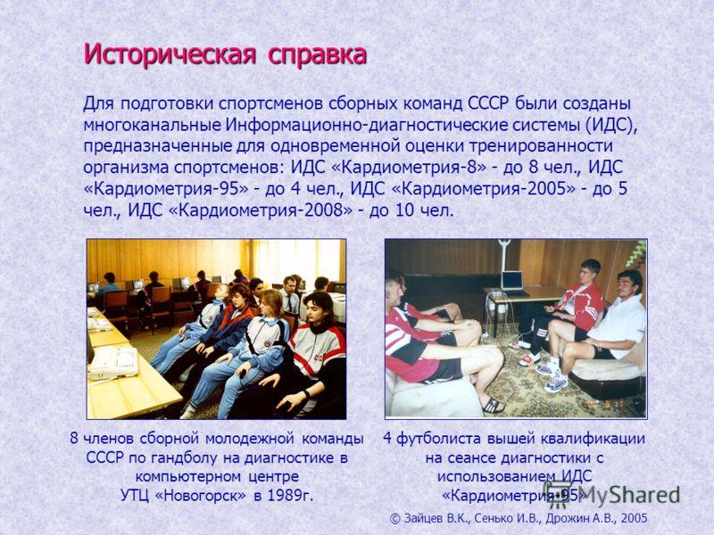 Историческая справка Для подготовки спортсменов сборных команд СССР были созданы многоканальные Информационно-диагностические системы (ИДС), предназначенные для одновременной оценки тренированности организма спортсменов: ИДС «Кардиометрия-8» - до 8 ч