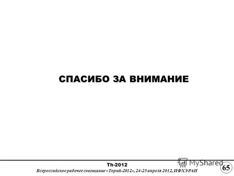 СПАСИБО ЗА ВНИМАНИЕ СПАСИБО ЗА ВНИМАНИЕ Th-2012 Всероссийское рабочее совещание «Торий-2012», 24-25 апреля 2012, ИФХЭ РАН 65