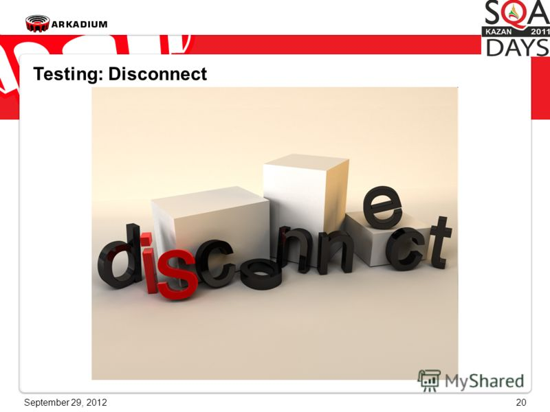 June 28, 201220 Testing: Disconnect