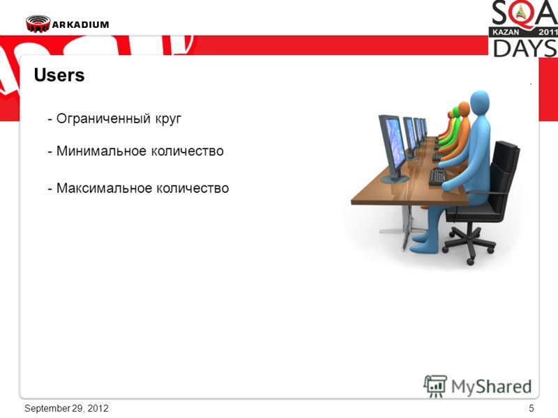 June 28, 20125 Users - Ограниченный круг - Минимальное количество - Максимальное количество