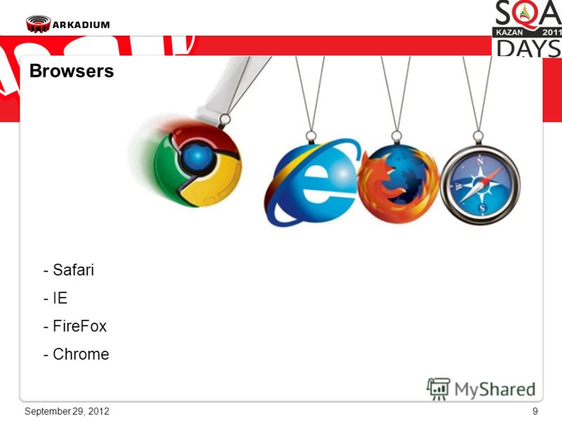 June 28, 20129 Browsers - Safari - IE - FireFox - Chrome