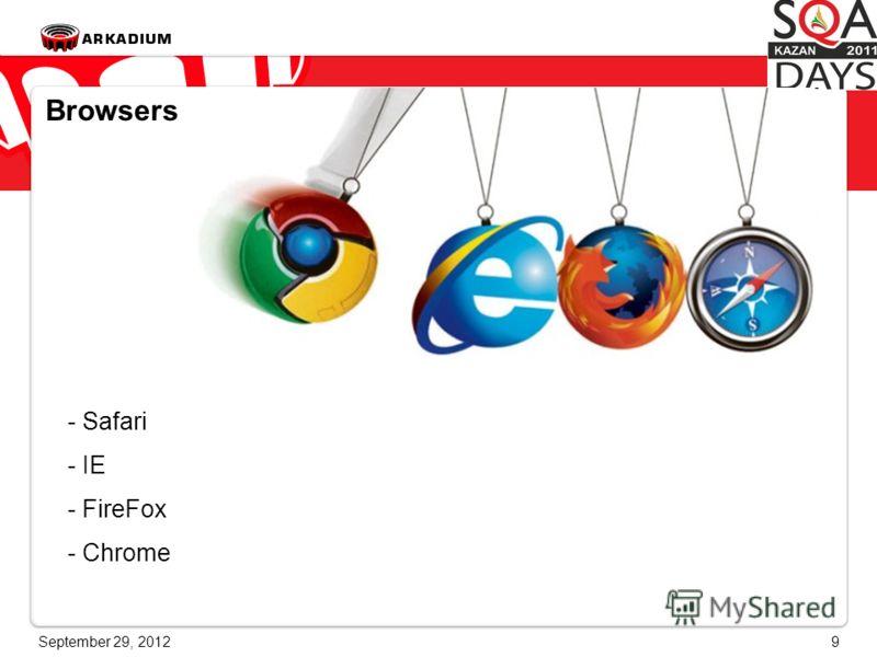 June 28, 20129 Browsers - Safari - IE - FireFox - Chrome