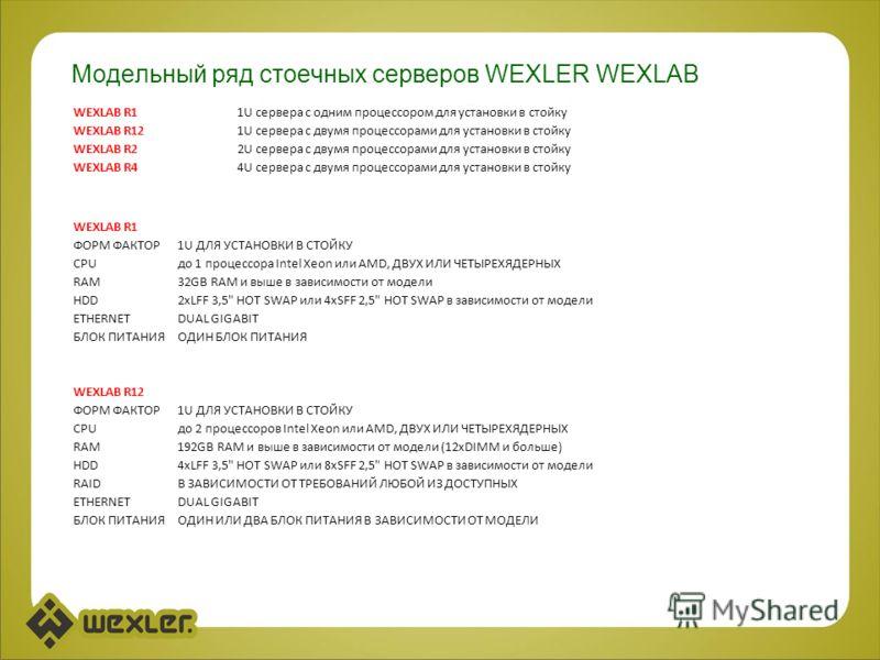 Модельный ряд стоечных серверов WEXLER WEXLAB WEXLAB R11U сервера с одним процессором для установки в стойку WEXLAB R121U сервера с двумя процессорами для установки в стойку WEXLAB R22U сервера с двумя процессорами для установки в стойку WEXLAB R44U