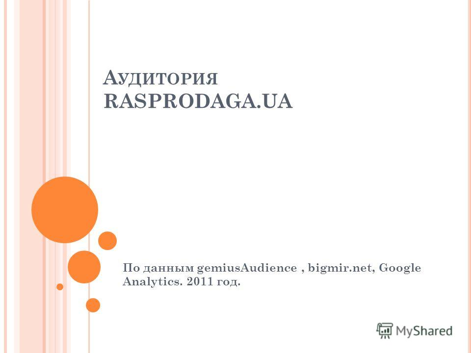А УДИТОРИЯ RASPRODAGA.UA По данным gemiusAudience, bigmir.net, Google Analytics. 2011 год.