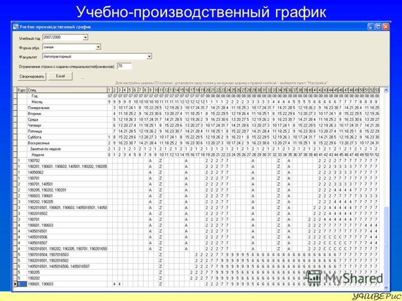 Учебно-производственный график