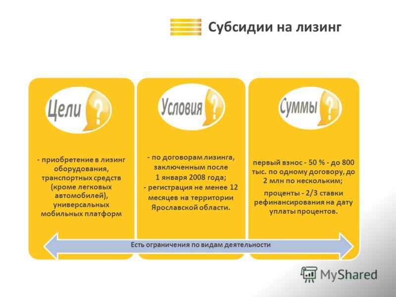 Субсидии на лизинг - приобретение в лизинг оборудования, транспортных средств (кроме легковых автомобилей), универсальных мобильных платформ - по договорам лизинга, заключенным после 1 января 2008 года; - регистрация не менее 12 месяцев на территории