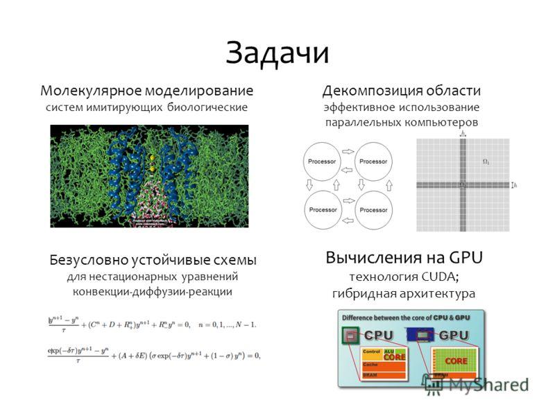 Задачи Молекулярное моделирование систем имитирующих биологические Декомпозиция области эффективное использование параллельных компьютеров Безусловно устойчивые схемы для нестационарных уравнений конвекции-диффузии-реакции Вычисления на GPU технологи