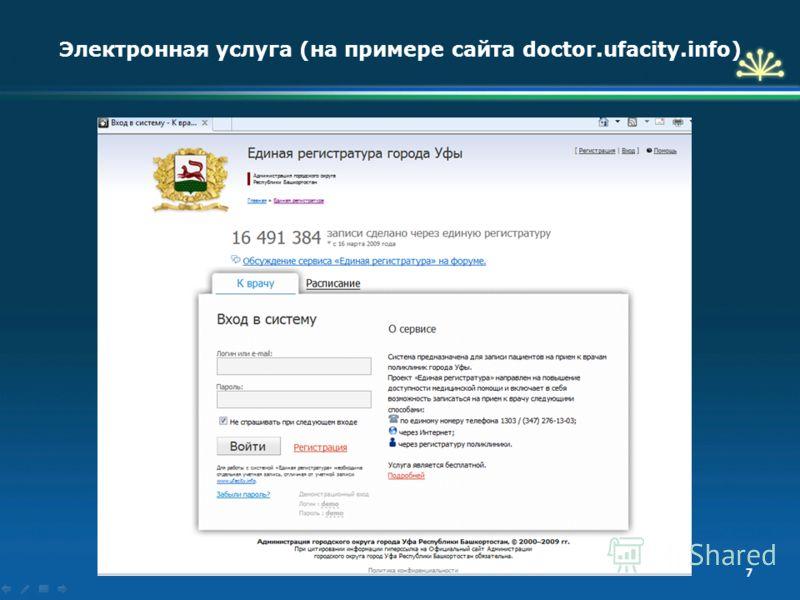 Электронная услуга (на примере сайта doctor.ufacity.info) 7