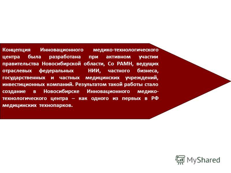 Концепция Инновационного медико-технологического центра была разработана при активном участии правительства Новосибирской области, Со РАМН, ведущих отраслевых федеральных НИИ, частного бизнеса, государственных и частных медицинских учреждений, инвест