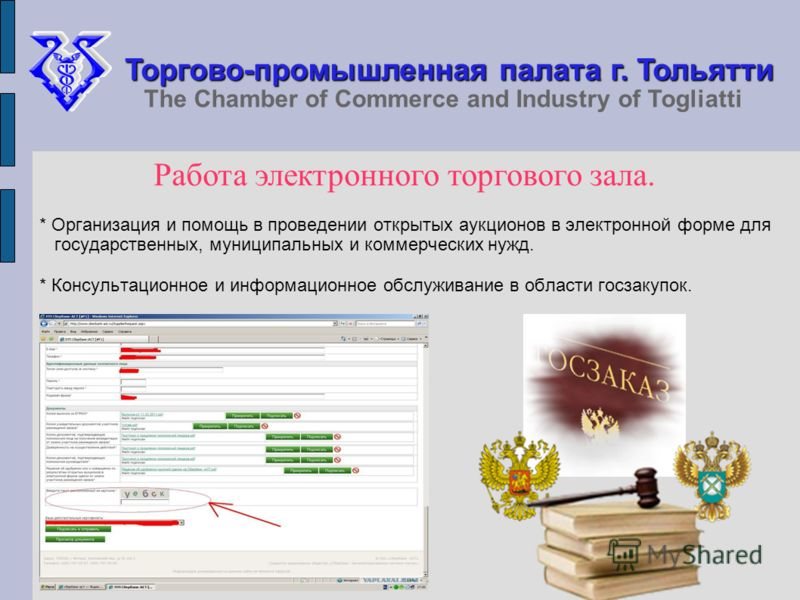* Организация и помощь в проведении открытых аукционов в электронной форме для государственных, муниципальных и коммерческих нужд. * Консультационное и информационное обслуживание в области госзакупок. Торгово-промышленная палата г. Тольятти The Cham