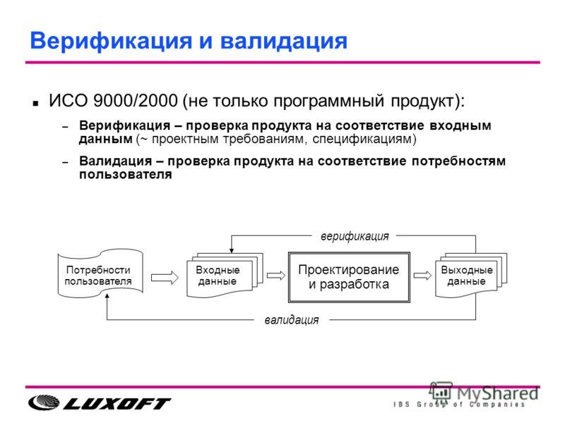 Верификация и валидация ИСО 9000/2000 (не только программный продукт): – Верификация – проверка продукта на соответствие входным данным (~ проектным требованиям, спецификациям) – Валидация – проверка продукта на соответствие потребностям пользователя