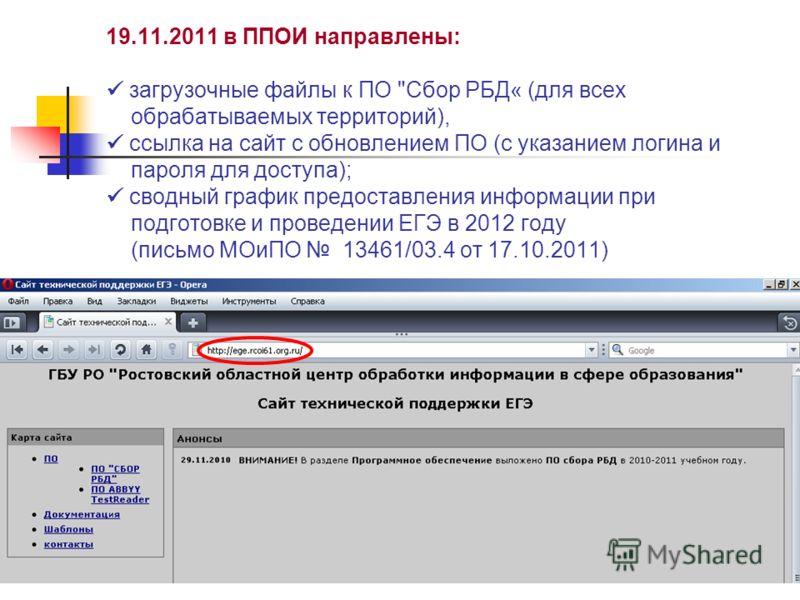 19.11.2011 в ППОИ направлены: загрузочные файлы к ПО