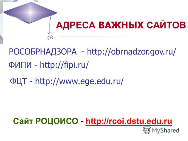 ФЦТ - http://www.ege.edu.ru/ ФИПИ - http://fipi.ru/ РОСОБРНАДЗОРА - http://obrnadzor.gov.ru/ Сайт РОЦОИСО - http://rcoi.dstu.edu.ruhttp://rcoi.dstu.edu.ru АДРЕСА ВАЖНЫХ САЙТОВ