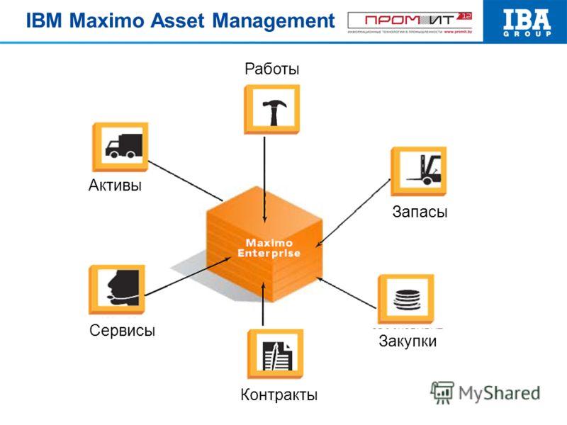 Работы Запасы Контракты Сервисы Активы Закупки IBM Maximo Asset Management