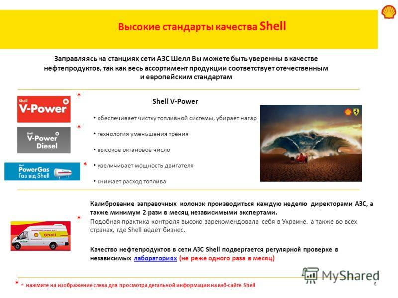 8 * - нажмите на изображение слева для просмотра детальной информации на вэб-сайте Shell Высокие стандарты качества Shell Shell V-Power обеспечивает чистку топливной системы, убирает нагар технология уменьшения трения высокое октановое число увеличив