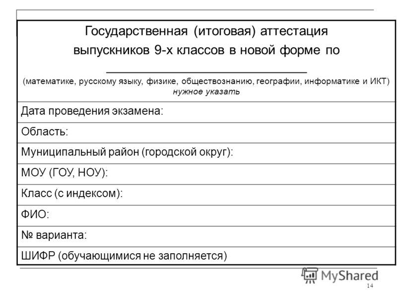 14 Государственная (итоговая) аттестация выпускников 9-х классов в новой форме по ___________________________ (математике, русскому языку, физике, обществознанию, географии, информатике и ИКТ) нужное указать Дата проведения экзамена: Область: Муницип