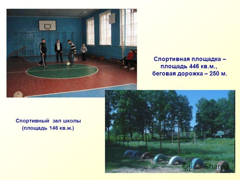 Спортивный зал школы (площадь 146 кв.м.) Спортивная площадка – площадь 446 кв.м., беговая дорожка – 250 м.