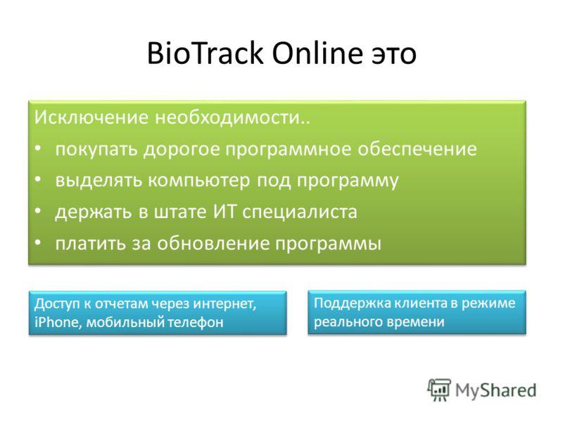 BioTrack Online это Исключение необходимости.. покупать дорогое программное обеспечение выделять компьютер под программу держать в штате ИТ специалиста платить за обновление программы Исключение необходимости.. покупать дорогое программное обеспечени