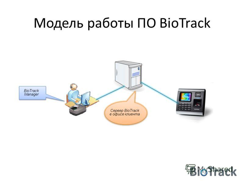 Модель работы ПО BioTrack Сервер BioTrack в офисе клиента BioTrack Manager