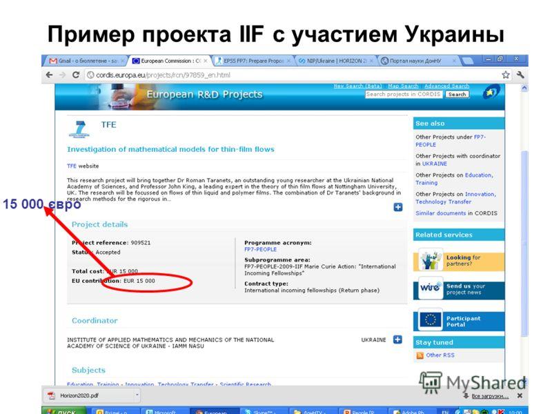 Пример проекта IIF c участием Украины 15 000 євро