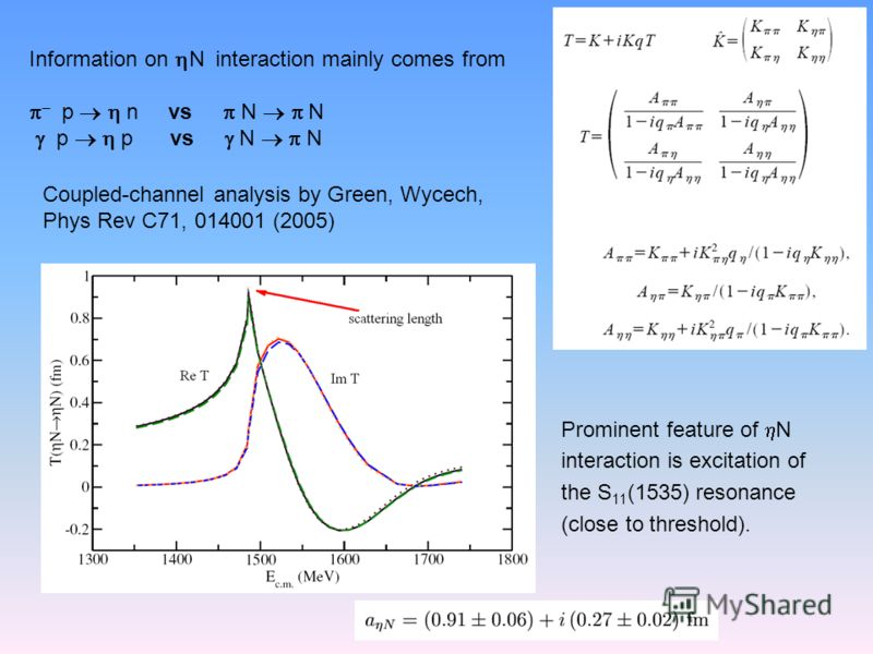 Information on N interaction mainly comes from p n vs N N p p vs N N Coupled-channel analysis by Green, Wycech, Phys Rev C71, 014001 (2005) Prominent feature of N interaction is excitation of the S 11 (1535) resonance (close to threshold).