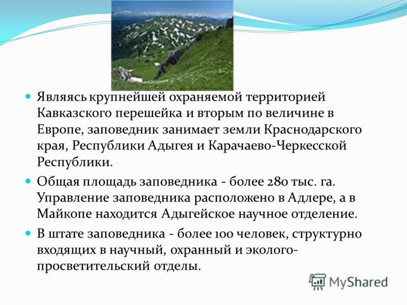 Трудно найти в нашей стране, да и во всем мире, участок природы, наделенный такой богатой флорой и фауной, как Кавказский государственный биосферный заповедник - старейший заповедник России. Он расположен на северном и южном склонах Западного Кавказа