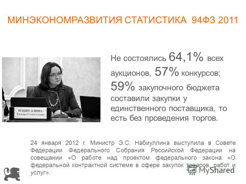МИНЭКОНОМРАЗВИТИЯ СТАТИСТИКА 94ФЗ 2011 Не состоялись 64,1% всех аукционов, 57% конкурсов; 59% закупочного бюджета составили закупки у единственного поставщика, то есть без проведения торгов. 24 января 2012 г. Министр Э.С. Набиуллина выступила в Совет
