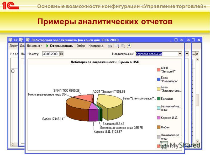 Основные возможности конфигурации «Управление торговлей» Примеры аналитических отчетов