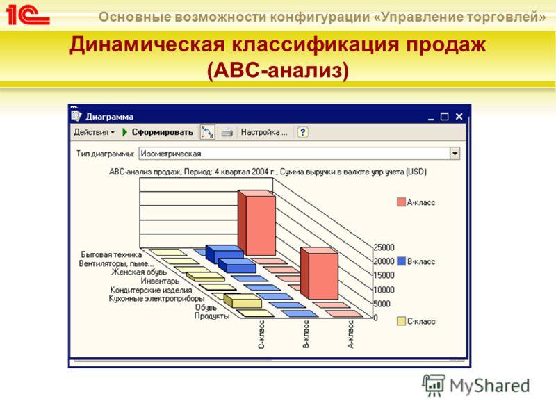 Основные возможности конфигурации «Управление торговлей» Динамическая классификация продаж (АВС-анализ)