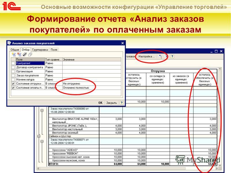 Основные возможности конфигурации «Управление торговлей» Формирование отчета «Анализ заказов покупателей» по оплаченным заказам