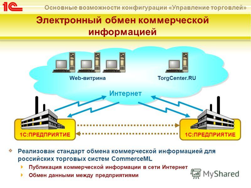 Основные возможности конфигурации «Управление торговлей» 1С:ПРЕДПРИЯТИЕ Электронный обмен коммерческой информацией Реализован стандарт обмена коммерческой информацией для российских торговых систем CommerceML Публикация коммерческой информации в сети