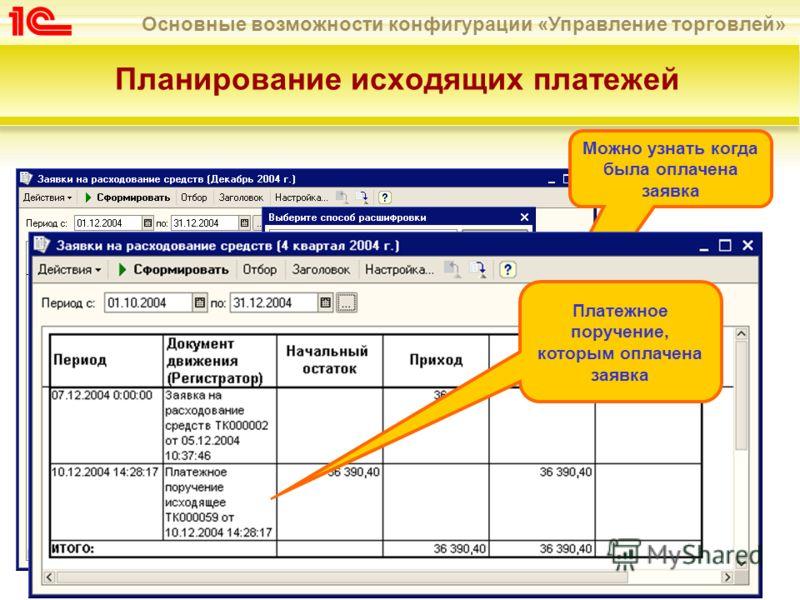 Основные возможности конфигурации «Управление торговлей» Планирование исходящих платежей Можно узнать когда была оплачена заявка Платежное поручение, которым оплачена заявка