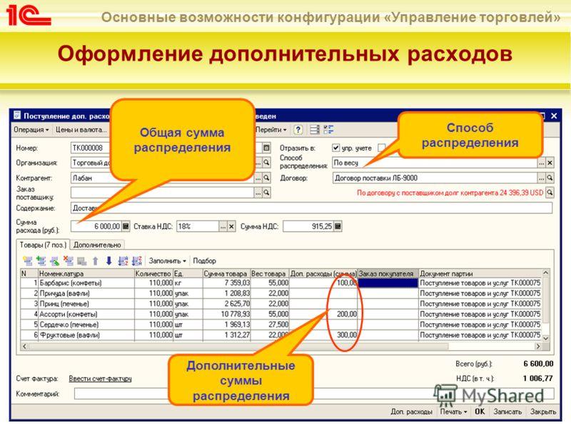 Основные возможности конфигурации «Управление торговлей» Оформление дополнительных расходов Общая сумма распределения Способ распределения Дополнительные суммы распределения